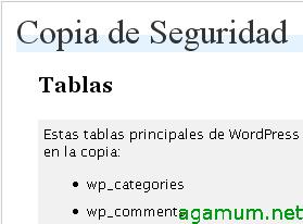 Traducción al español de WordPress Database Backup