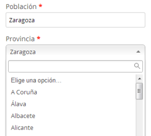 Desplegable de provincias en WooCommerce