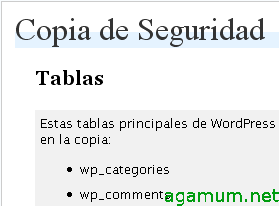 Traducción al español de WordPress Database Backup