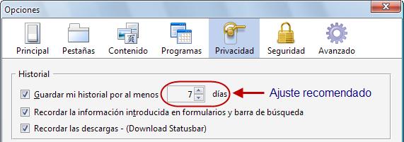 Captura de ajuste de historial en Firefox