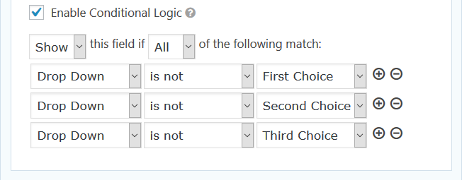 Gravity Forms Conditional Logic for no choice selected.