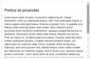 Política de privacidad en campo HTML con barra de desplazamiento