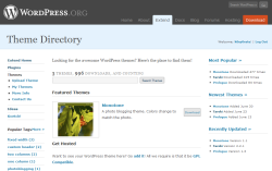 Captura de pantalla de WordPress Extend Themes