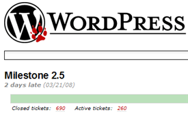 WordPress 2.5 TRAC